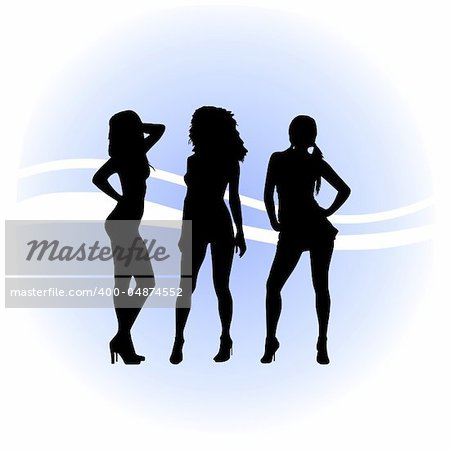 Image of vector tree girls silhouettes Stock Photo - Budget Royalty-Free, Image code: 400-04874552