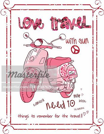 peace lovely pink scooter illustration vector sketch drawing Stock Photo - Budget Royalty-Free, Image code: 400-04876791