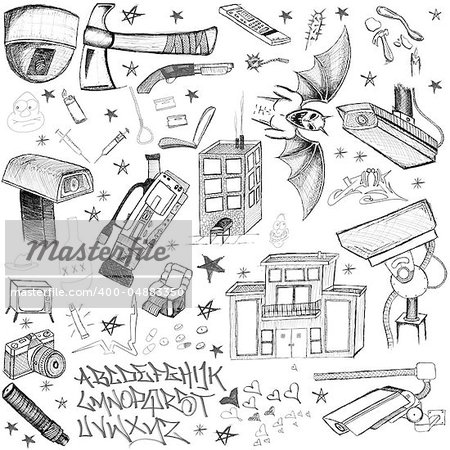 hand drawn doodles design elements scetch scribbles drawing