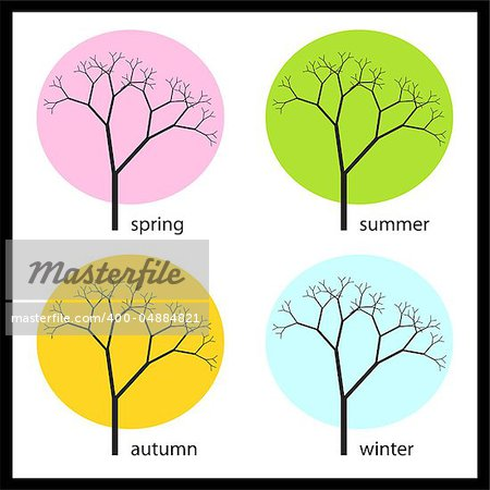 graphic vector illustration of tree in four seasons Stock Photo - Budget Royalty-Free, Image code: 400-04884821