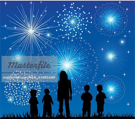 Vector illustration of children watching fireworks