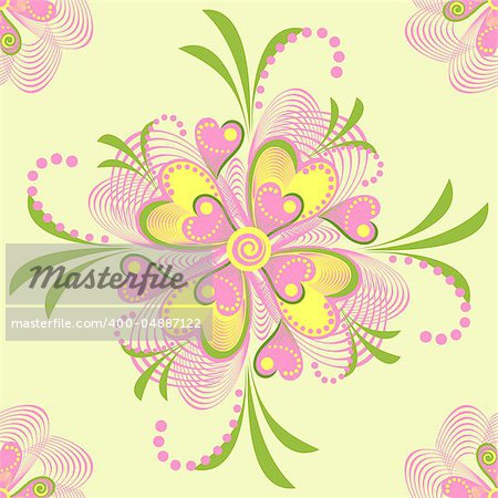 Seamless retro background with flower heart. Vector abstract background with nature theme.