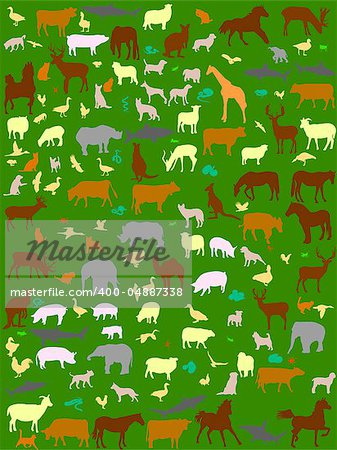 collection of different color  animals silhouette - vector Stock Photo - Budget Royalty-Free, Image code: 400-04887338