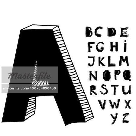Hand drawn letters Stock Photo - Budget Royalty-Free, Image code: 400-04890430