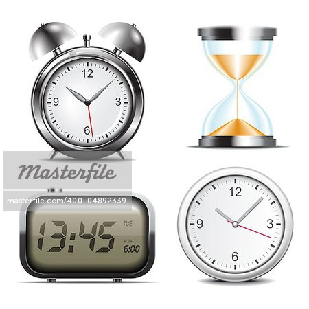 Clock vector icons set Stock Photo - Budget Royalty-Free, Image code: 400-04892339