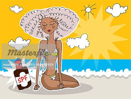 Girl at summer beach banner / Sea, sun protection card