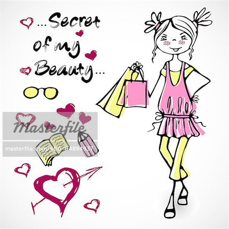 Cute vector fashion glamour smile girl on a pink dress in cartoon style