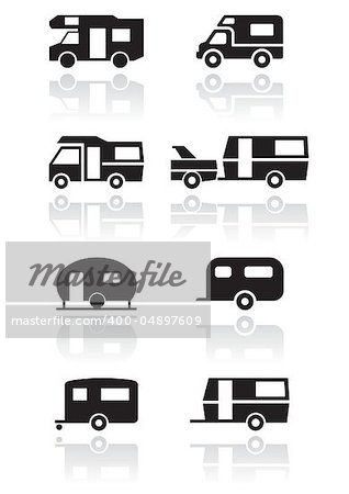 Caravan or camper van symbol vector illustration set. All vector objects are isolated and grouped. Colors and transparent background color are easy to adjust. Stock Photo - Budget Royalty-Free, Image code: 400-04897609
