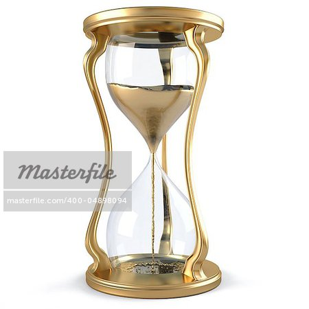 gold hourglass with golden stream flowing down. isolated on white. Stock Photo - Budget Royalty-Free, Image code: 400-04898094