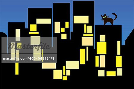 An illustration of night city lights turned on in the shape of a love declaration with funny cat on the roof. Also available as a vector in Adobe Illustrator EPS format, compressed in a zip file. The vector version can be scaled to any size without loss of quality Stock Photo - Budget Royalty-Free, Image code: 400-04898471