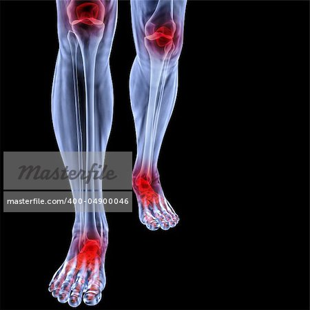 Human feet under X-rays. joints are shown in red. isolated on black. Stock Photo - Budget Royalty-Free, Image code: 400-04900046