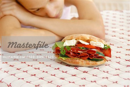 hungry girl hands teen girl by appetizing big sandwich with ham and cheese Stock Photo - Budget Royalty-Free, Image code: 400-04900623