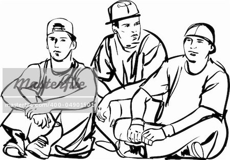 a black and white sketch of the guys Stock Photo - Budget Royalty-Free, Image code: 400-04901501