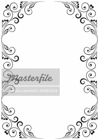 Frame A4 with floral ornaments Stock Photo - Royalty-Free, Artist ...