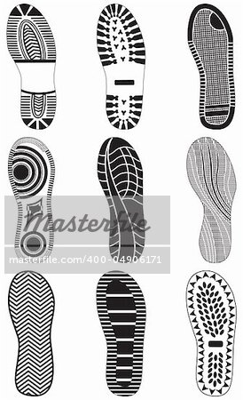 Vector illustration set of footprints. All vector objects are isolated and grouped. Colors and transparent background color are easy to customize. Stock Photo - Budget Royalty-Free, Image code: 400-04906171