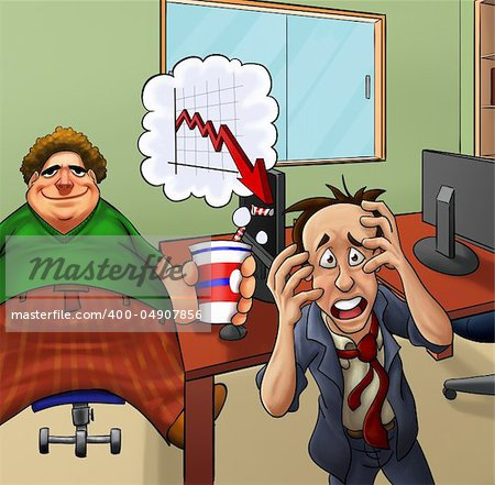 very upset manger and his fat lazy employer Stock Photo - Budget Royalty-Free, Image code: 400-04907856