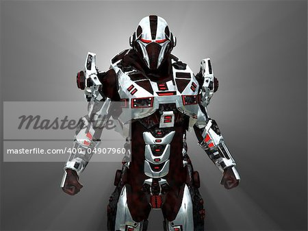 Advanced cyborg future soldier Stock Photo - Budget Royalty-Free, Image code: 400-04907960