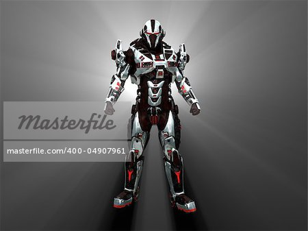 Advanced cyborg future soldier Stock Photo - Budget Royalty-Free, Image code: 400-04907961