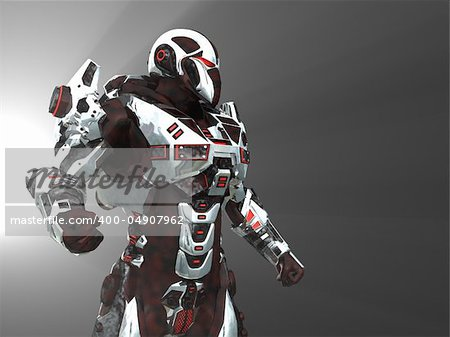 Advanced cyborg future soldier Stock Photo - Budget Royalty-Free, Image code: 400-04907962