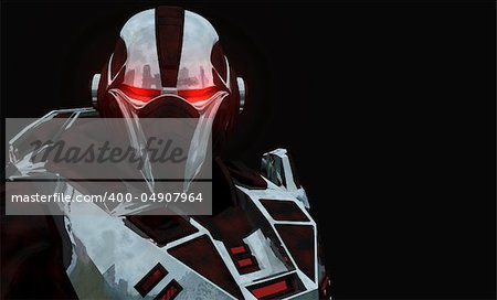 Advanced cyborg future soldier Stock Photo - Budget Royalty-Free, Image code: 400-04907964