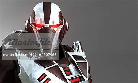 Advanced cyborg future soldier Stock Photo - Budget Royalty-Free, Image code: 400-04907966