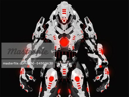 3d render of futuristic battle robot Stock Photo - Budget Royalty-Free, Image code: 400-04909630