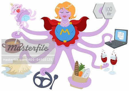 A Vector Illustration of an octopus mother dressed as a superhero and doing actions such as lifting weights, working on a laptop, having drinks, shopping for grocery, driving, cleaning, cooking and taking care of her baby. Stock Photo - Budget Royalty-Free, Image code: 400-04910135