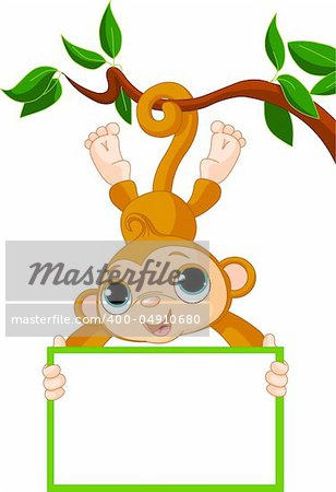 Cute baby monkey on a tree holding blank sign Stock Photo - Budget Royalty-Free, Image code: 400-04910680