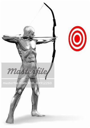 An illustration of a chrome man figure aiming a target.