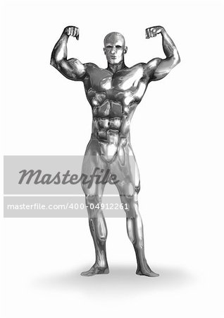 Illustration of a chrome man with muscular body.