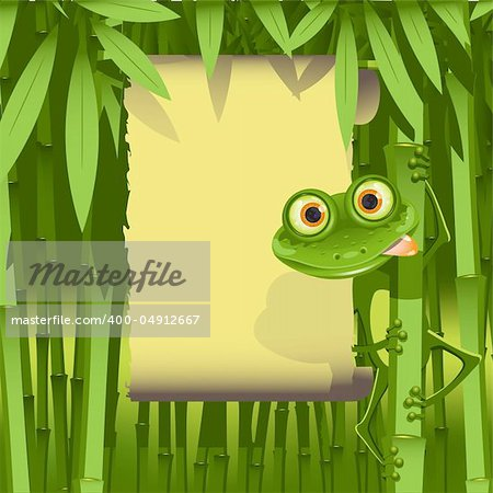 illustration, curious frog on stem of the bamboo