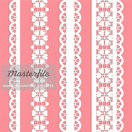 cute straight lace set. Seamless lace trims for use with fabric projects, backgrounds or scrap-booking.  Elements can also be used as brushes