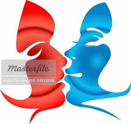Illustration art of Man and woman kissing shape with isolated background