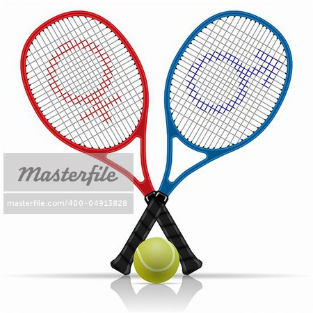 Illustration rackets with tennis balls on a white background.
