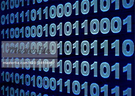 Internet concept - screen with binary code
