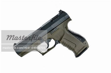 Image of a9mm handgun on a white background Stock Photo - Budget Royalty-Free, Image code: 400-04914706