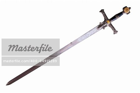 Fantasy medieval sword isolated on white background disposed by diagonal Stock Photo - Budget Royalty-Free, Image code: 400-04915289