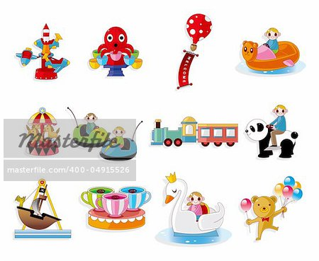 Cartoon Playground Equipment icons set