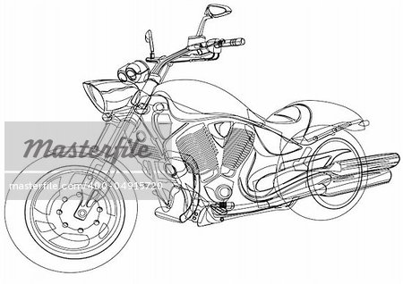 Vector drawing a big motorcycle Stock Photo - Budget Royalty-Free, Image code: 400-04915720