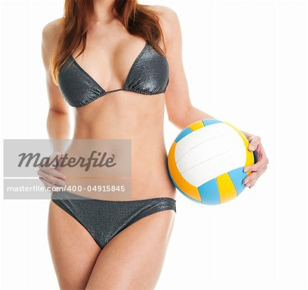 Beautilful volleyball player woman in swimwear. Isolated on white Stock Photo - Budget Royalty-Free, Image code: 400-04915845