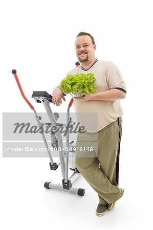 Power plan for fittness - overweight man's healthy choices, exercise and fresh food - isolated Stock Photo - Budget Royalty-Free, Image code: 400-04916146