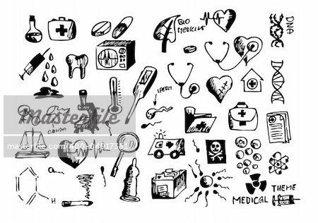 hand drawn medical symbols isolated on the white background