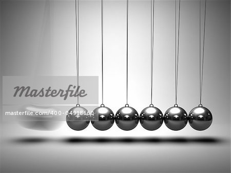 Balancing balls Newton's cradle on grey background Stock Photo - Budget Royalty-Free, Image code: 400-04918660