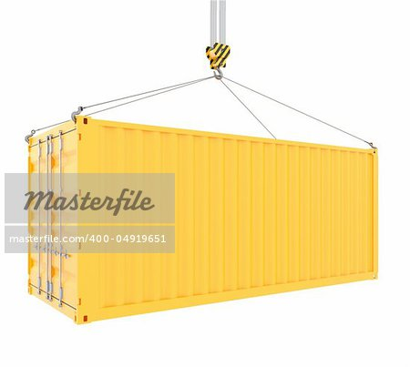 3d render of cargo container with hook isolated on white