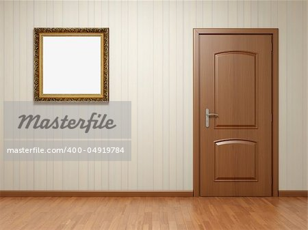 Empty room with wooden door and frame on striped wallpaper Stock Photo - Budget Royalty-Free, Image code: 400-04919784