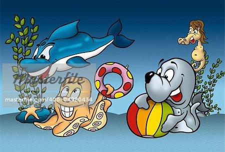 Sea Life - Cartoon Background Illustration, Bitmap
