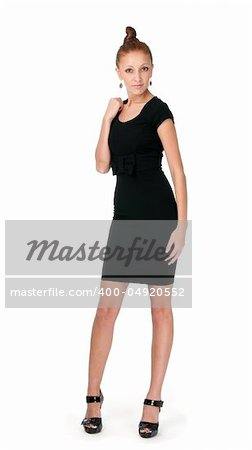 Sexy lady in black dress Stock Photo - Budget Royalty-Free, Image code: 400-04920552