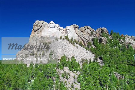 Mount Rushmore National Memorial carved into the peaks of the Black Hills in South Dakota. Stock Photo - Budget Royalty-Free, Image code: 400-04921193