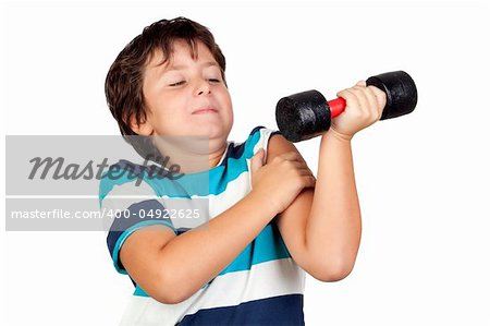 Funny child playing sports with weights isolated on white background Stock Photo - Budget Royalty-Free, Image code: 400-04922625