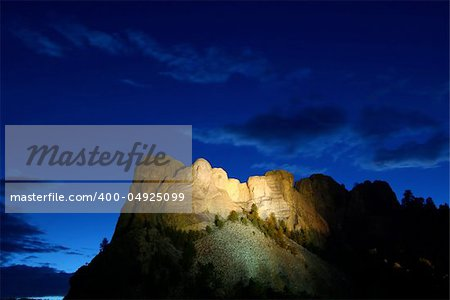Mount Rushmore National Memorial illuminated under the twilight sky - South Dakota. Stock Photo - Budget Royalty-Free, Image code: 400-04925099